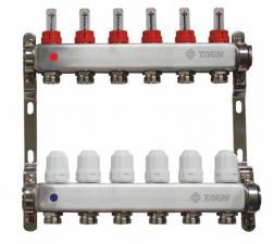 TAEN Коллекторная группа 1x3/4x6 вых. с расходомерами и регулир.клапанами (нерж.сталь)