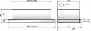 Вытяжка встраиваемая ELIKOR Интегра 60П-400-В2Л черный/нерж, ширина 60 см, глубина 28 см, 400 куб.м/