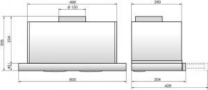Вытяжка встраиваемая ELIKOR Интегра 60Н-400-В2Л нерж/нерж, ширина 60 см, глубина 28 см, 400 куб.м/ча